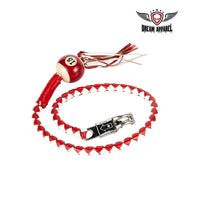 White And Red Fringed Get Back Whip W/ Pool Ball