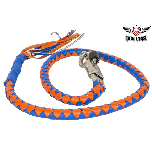 Blue & Orange Get Back Whip For Motorcycles - Club Vest Biker Motorcycle Apparel & Accessories
