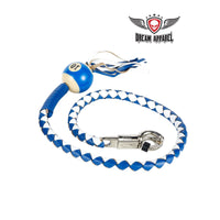 best-motorcyle-vest - White And Blue Fringed Get Back Whip W/ Pool Ball - Biker Motorcycle Apparel & Clothing - get back whip