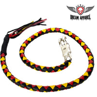 "best-motorcyle-vest - 50"" Inch Long Black, Yellow And Red Get Back Whip - Biker Motorcycle Apparel & Clothing - get back whip"