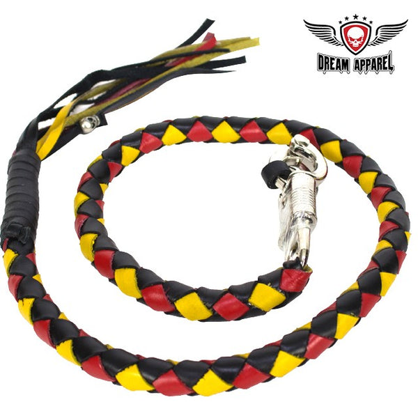 "best-motorcyle-vest - 42"" Inch Long Hand-Braided Get back Whip Black Yellow Red - Dream Apparel® - get back whip"