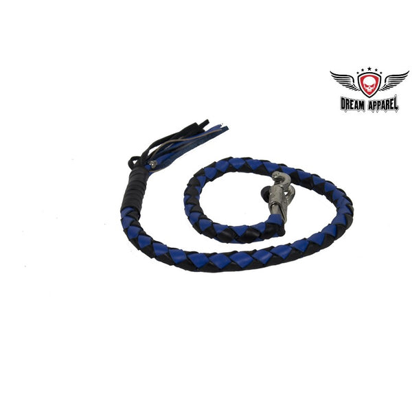 "2"" dia Black & Blue Get Back Whip for Motorcycles - Club Vest Biker Motorcycle Apparel & Accessories"
