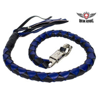 "42"" X 3"" Hand-braided Get Back Whip - Black/Blue - Club Vest Biker Motorcycle Apparel & Accessories"