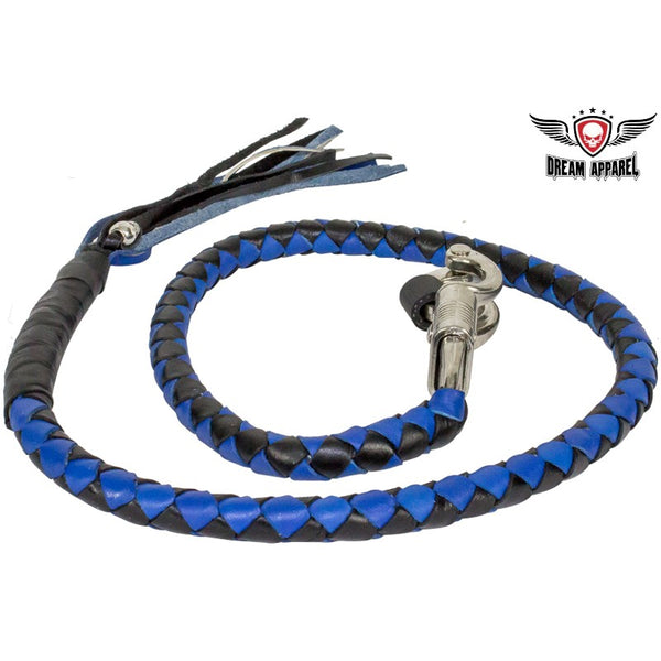 Black & Blue Get Back Whip For Motorcycles - Club Vest Biker Motorcycle Apparel & Accessories