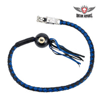 Black And Blue Fringed Get Back Whip With Pool Ball 8