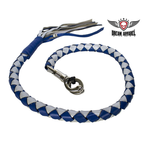 "best-motorcyle-vest - Blue And Silver Hand-Braided Leather Get back Whips - 2"" Thick 42"" Length - Dream Apparel® - get back whip"
