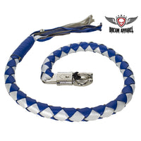 "best-motorcyle-vest - 3"" Thick 42"" Long Hand-Braided Leather Get Back Whip Blue Silver - Dream Apparel® - get back whip"