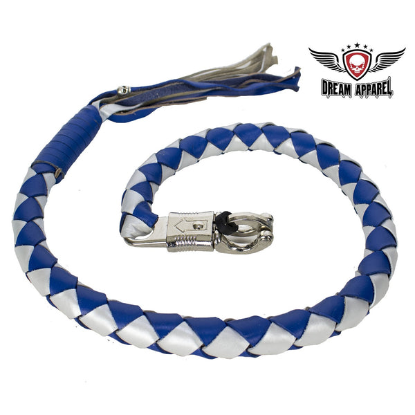 "3"" Thick 42"" Long Hand-Braided Leather Get Back Whip Blue Silver - Club Vest Biker Motorcycle Apparel & Accessories"