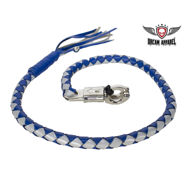 best-motorcyle-vest - Blue and Silver Hand-Braided Leather Get Back Whip - Dream Apparel® - get back whip