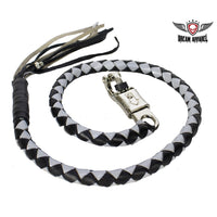 Black and Silver Hand-Braided Leather Get Back Whip - Club Vest Biker Motorcycle Apparel & Accessories