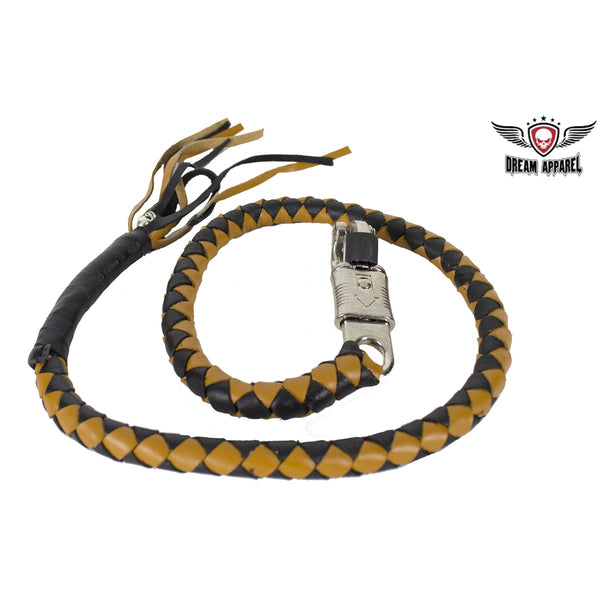 Black & Brown Get Back Whip For Motorcycles - Club Vest Biker Motorcycle Apparel & Accessories