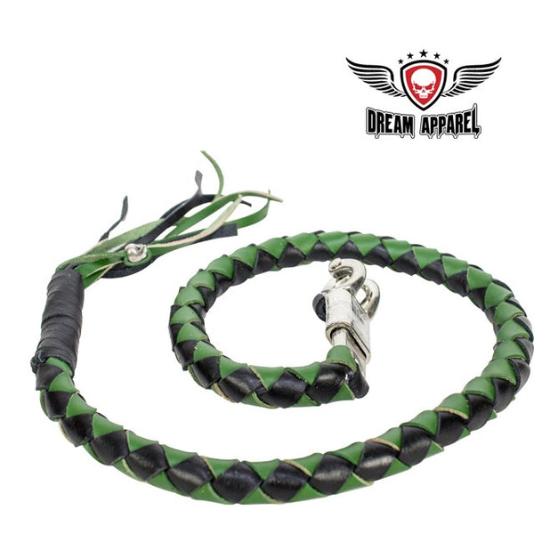"best-motorcyle-vest - 42"" X 2"" Hand-braided Naked Leather Get Back Whip - Black/Green - Biker Motorcycle Apparel & Clothing - get back whip"