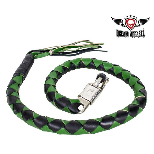 "best-motorcyle-vest - 42"" X 3"" Hand-braided Naked Cowhidwe Leather Get Back Whip - Black/Green - Biker Motorcycle Apparel & Clothing - get back whip"