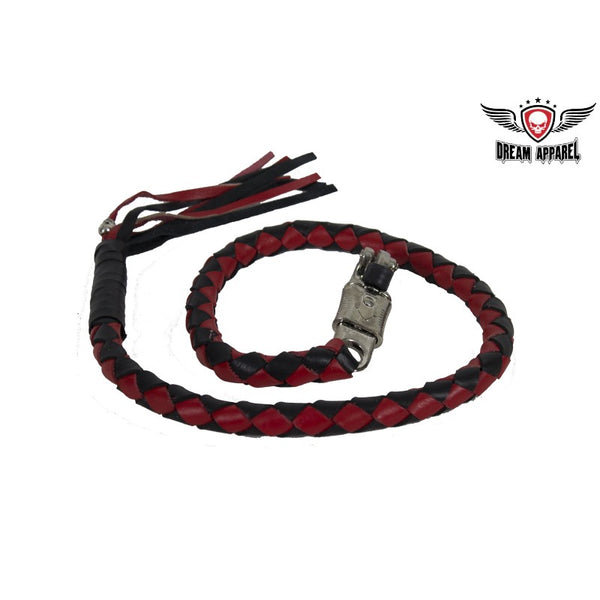 "2"" dia Red & Black Get Back Whip for Motorcycles - Club Vest Biker Motorcycle Apparel & Accessories"