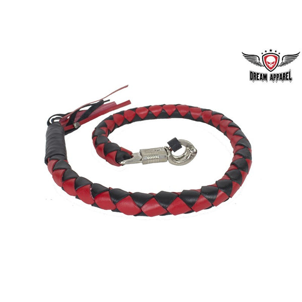 "best-motorcyle-vest - 42"" long 3"" Fat Red & Black Get Back Whip for Motorcycles - Dream Apparel® - get back whip"