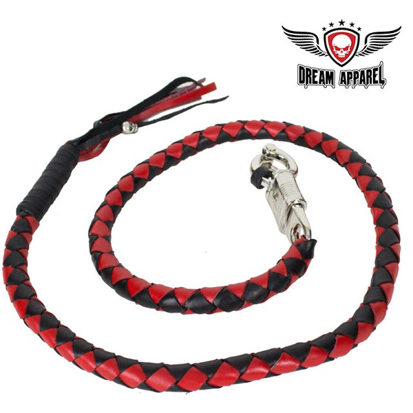 "best-motorcyle-vest - 50"" Inch Long Black And Red Get Back Whip - Biker Motorcycle Apparel & Clothing - get back whip"