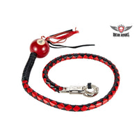 best-motorcyle-vest - Black And Red Fringed Get Back Whip W/ Pool Ball - Biker Motorcycle Apparel & Clothing - get back whip