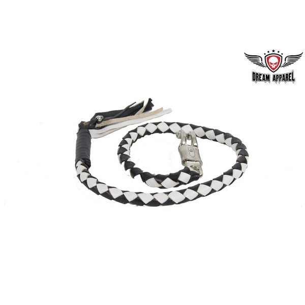 "42"" long Black & White Get Back Whip for Motorcycles - Club Vest Biker Motorcycle Apparel & Accessories"