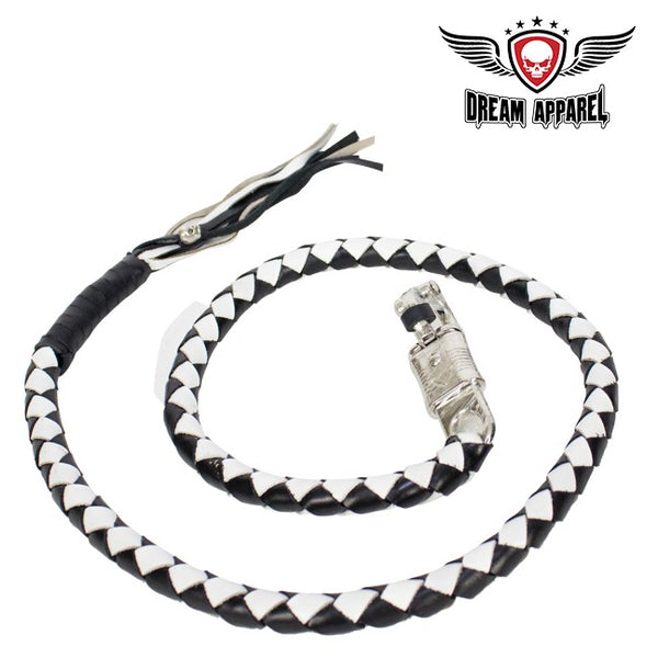 "50"" Inch Long Black And White Get Back Whip - Club Vest Biker Motorcycle Apparel & Accessories"