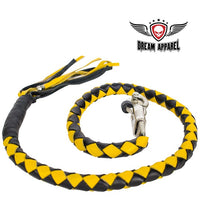 "best-motorcyle-vest - 42"" X 2"" Hand-braided Naked Cowhide Leather Get Back Whip - Black/Yellow - Dream Apparel® - get back whip"