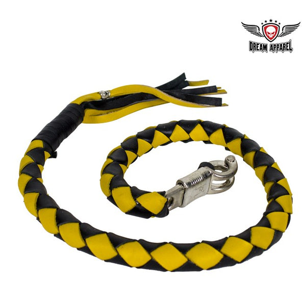 "best-motorcyle-vest - 42"" FAT Black & Yellow Get Back Whip for Motorcycles - Dream Apparel® - get back whip"