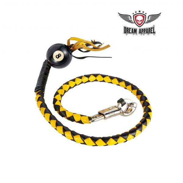 Black And Yellow Fringed Get Back Whip With Pool Black Ball 8