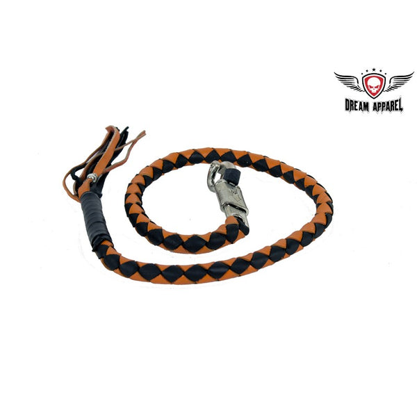 "42"" Orange & Black Get Back Whip for Motorcycles - Club Vest Biker Motorcycle Apparel & Accessories"