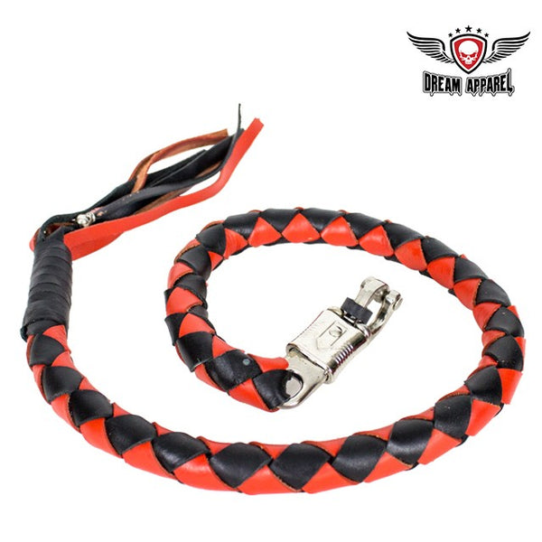 "42"" Fat Black & Orange Get Back Whip for Motorcycles - Club Vest Biker Motorcycle Apparel & Accessories"