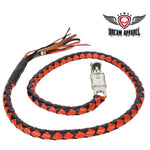 "50"" long Black And Orange Get Back Whip - Club Vest Biker Motorcycle Apparel & Accessories"