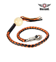 Black And Orange Fringed Get Back Whip With White Pool Ball