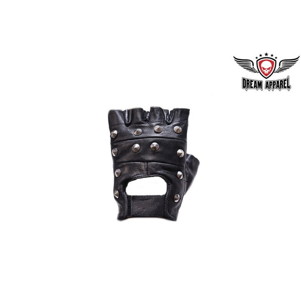 best-motorcyle-vest - Studded Leather Motorcycle Fingerless Gloves - Dream Apparel® - motorcycle gloves