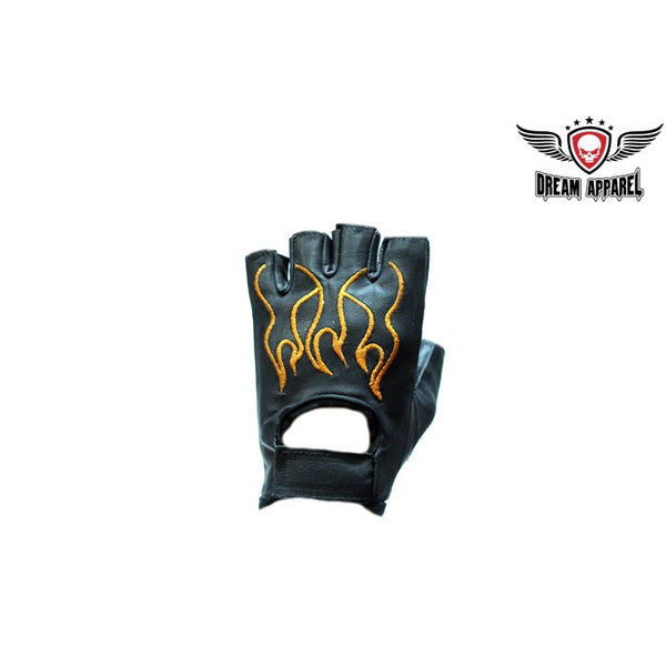 best-motorcyle-vest - Biker Fingerless Leather Gloves With Orange Flames - Club Vest Biker Motorcycle Apparel & Accessories - motorcycle gloves
