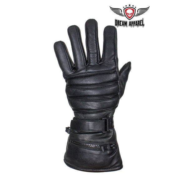Long Raincover Black Naked Cowhide Leather Gauntlet Gloves