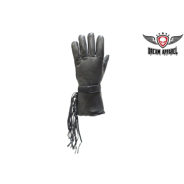 Leather Motorcycle Gauntlet Gloves With Fringe - Club Vest Biker Motorcycle Apparel & Accessories