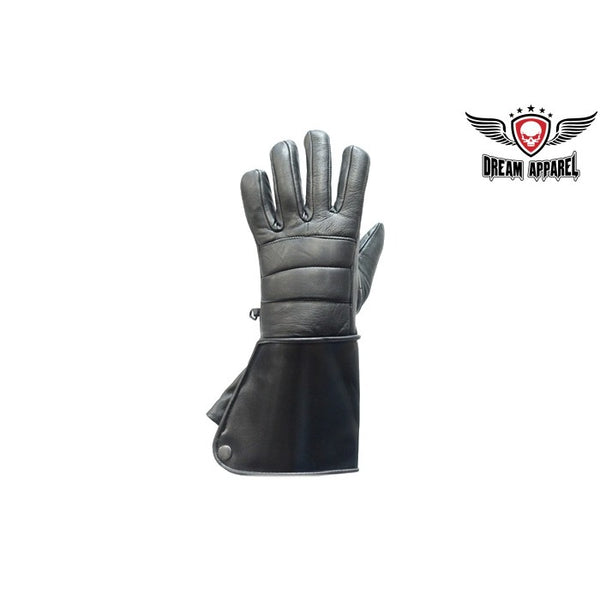 Black Leather Motorcycle Gloves with Lined Gauntlets - Club Vest Biker Motorcycle Apparel & Accessories
