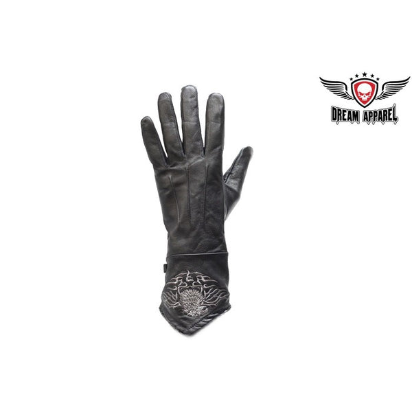 Ladies Motorcycle Gloves W/ Stitched Eagle - Club Vest Biker Motorcycle Apparel & Accessories