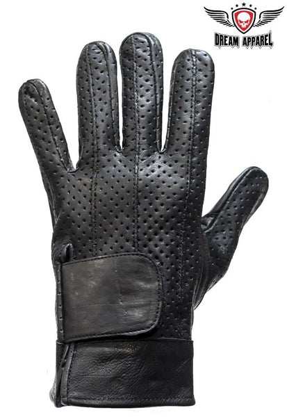 Full Finger Leather Motorcycle Gloves With Gel Pads