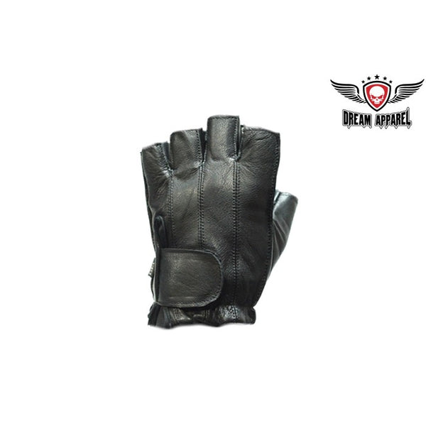 Fingerless Leather Aniline Riding Gloves with Palm in Gel - Club Vest Biker Motorcycle Apparel & Accessories