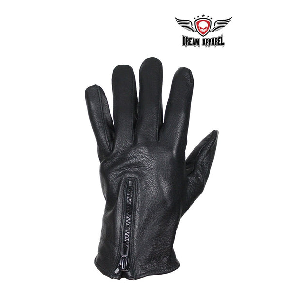 best-motorcyle-vest - Deer Skin Leather Driving Motorcycle Gloves With Zippered Back - Dream Apparel® - motorcycle gloves