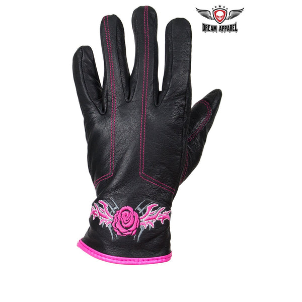 Pink Rose Graphic Embroidered Leather Gloves