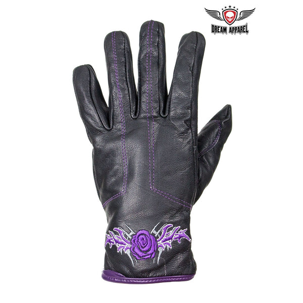 best-motorcyle-vest - Purple Rose Graphic Leather Gloves - Dream Apparel® - motorcycle gloves