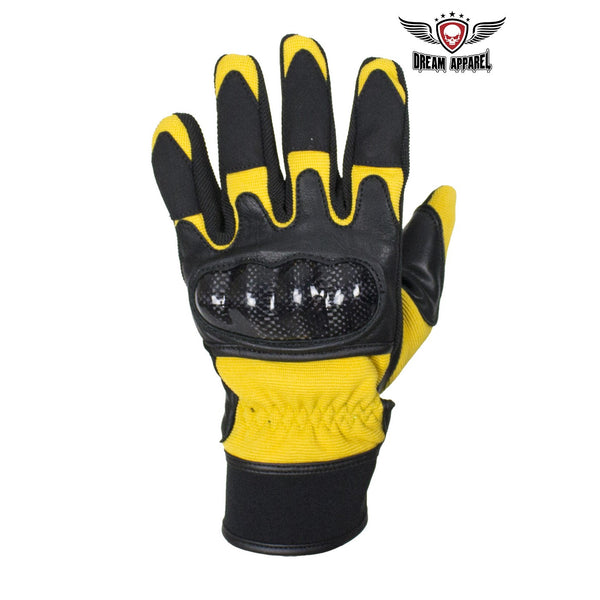 Leather And Textile Motorcycle Gloves With Hard Knuckles Choose Color - Club Vest Biker Motorcycle Apparel & Accessories
