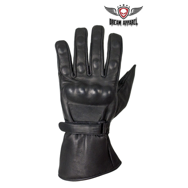 best-motorcyle-vest - Men's Leather Gauntlet Gloves With Hard Knuckle Protector - Dream Apparel® - motorcycle gloves