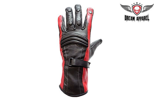 Womens Red Full Finger Leather Gauntlet Gloves