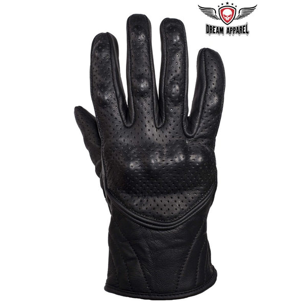 Mens Perforated Short Racing Gloves With Hard Knuckles
