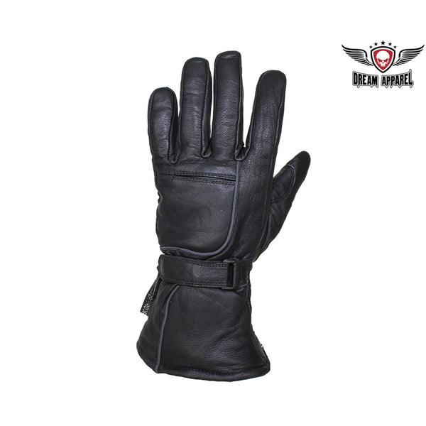 best-motorcyle-vest - Waterproof Reflective Nappa Leather Gauntlet Riding Gloves - Dream Apparel® - motorcycle gloves