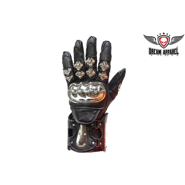 best-motorcyle-vest - Men's Leather Motorcycle Racing Gloves With metal Knuckle Protector - Dream Apparel® - motorcycle gloves