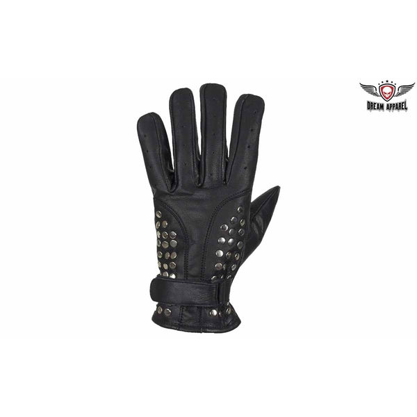best-motorcyle-vest - Men's Studded Full Finger Motorcycle Driving Gloves - Dream Apparel® - motorcycle gloves