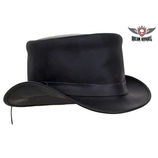 Black Leather Deadman Top Hat - Club Vest Biker Motorcycle Apparel & Accessories