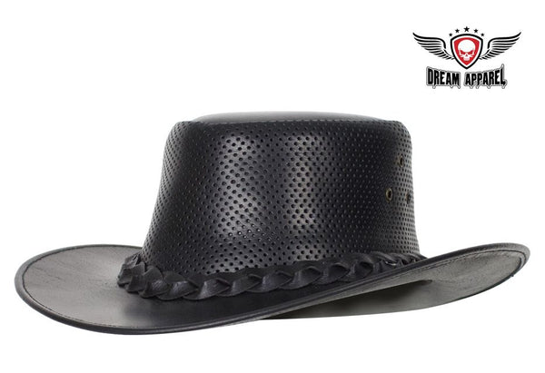 Genuine Black Naked Cowhide Leather Gambler Hat